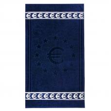 Полотенце велюровое Европа 50/90 см цвет синий с евро