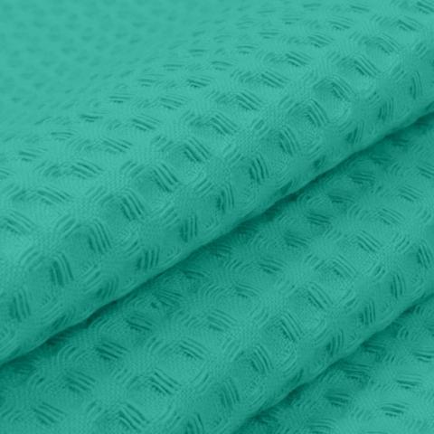 Вафельное полотно гладкокрашенное 150 см 240 гр/м2 7х7 мм премиум цвет 530 изумруд