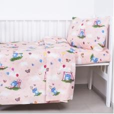 Постельное белье в детскую кроватку 315/4 Слоники с шариками персиковый с простыней на резинке