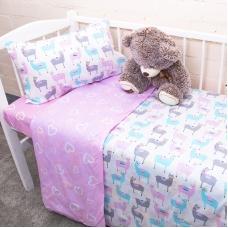Постельное белье в детскую кроватку из поплина 2137/1+395/2 с простыней на резинке