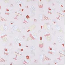 Ткань на отрез бязь плательная 150 см 1983/1 Мороженки цвет персик