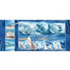 Ткань на отрез вафельное полотно набивное 150 см 19340/1 Морской бриз