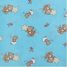 Ткань на отрез бязь 120 гр/м2  детская 150 см 7176 Мишка со звездой бирюза