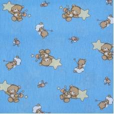 Ткань на отрез бязь 120 гр/м2  детская 150 см 7176 Мишка со звездой голубой