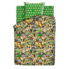 Детское постельное белье из хлопка 1.5 сп Emoji (70х70) рис. 9030-1/9031-1 Футбол