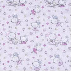 Ткань на отрез поплин 150 см 1953/3 Мышки-балерины цвет розовый