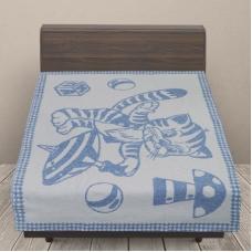 Одеяло детское байковое жаккардовое 100/140 см коты цвет синий