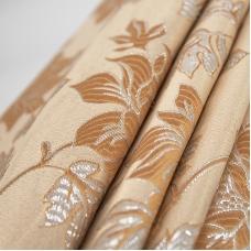 Портьерная ткань с люрексом 150 см на отрез H627 цвет 1 темно-бежевый цветы