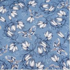 Ткань на отрез кулирка Цветы на голубом R4147-V3