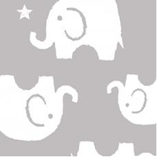Ткань на отрез интерлок пенье Слоники серые 28-18