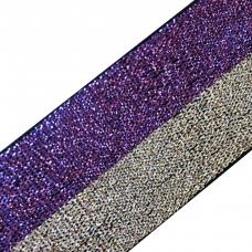 Резинка декоративная №9 люрекс серебро фиолет 3см уп 10 м