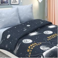 Мерный лоскут поплин 220 см 826-1 Галактика основа (светится в темноте) 3,6 м