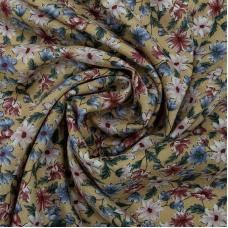 Ткань на отрез штапель 150 см 2445 Цветы на горчичном